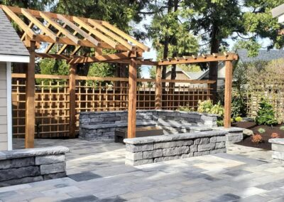 Paver Patio, Seat Walls, Gas Fire Pit, Low Voltage Lighting and Barn Wood Pergola