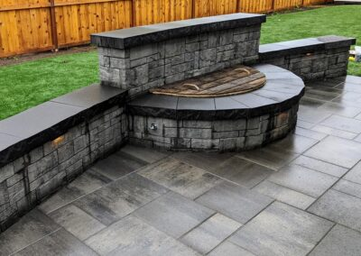 fire pit and stone walls