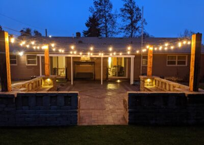 Paver Patio, Low Voltage Lighting and Water Features