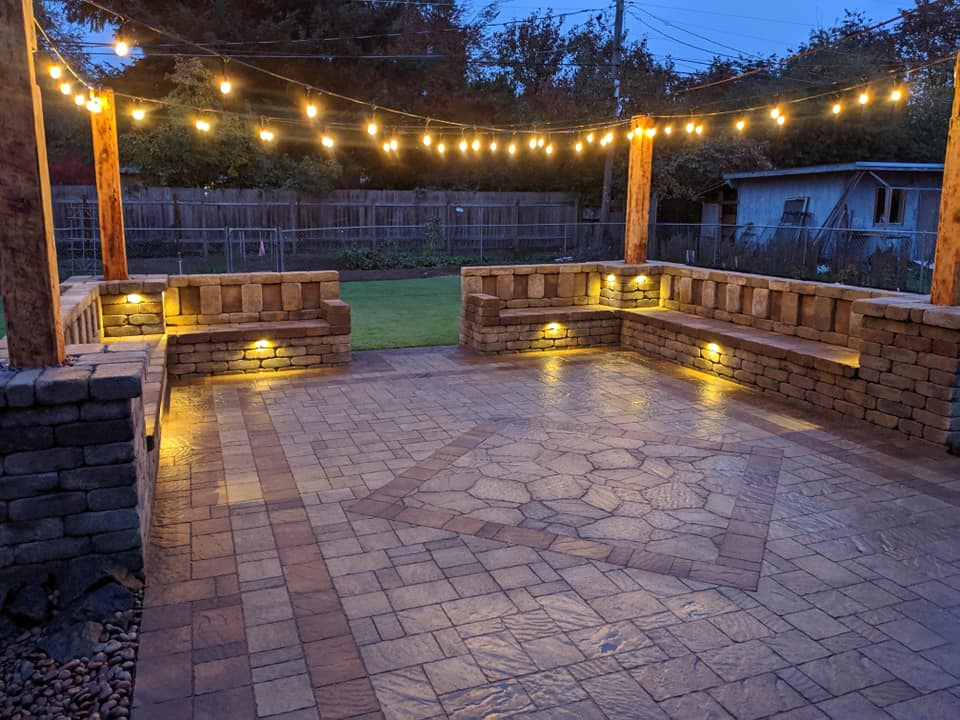 Outdoor Aesthetics Landscape Construction landscape design patio project with strings of lights