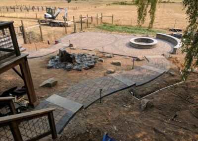 Paver Patio, Pathways, Water Feature, Seat Wall, Fire Pit and Low Voltage Lighting