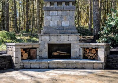 Paver Patios, Pathways, Dry Stack Rock Walls, Low Voltage Lighting and Fireplace