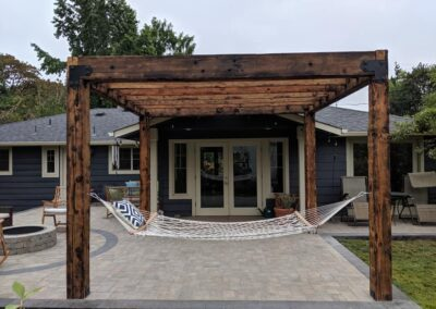 Paver Patio, Fire Pit and Barn Wood Pergola