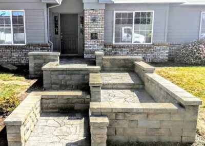Paver Path with Seat Walls