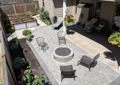 Paver Patio, Gas Fire Pit and Raised Garden Beds